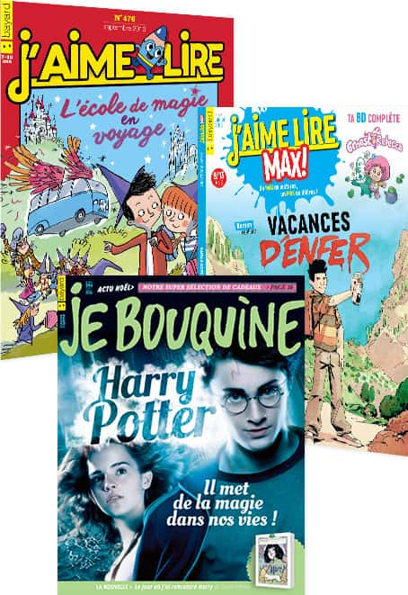Couvertures des magazines J'aime lire, J'aime lire Max et Je Bouquine