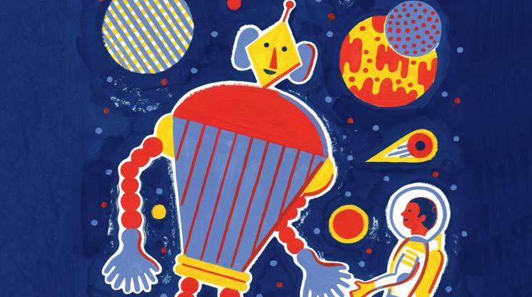 Poésie 'La main de l'extra-terrestre', décembre 2014, illustration Laurent Moreau