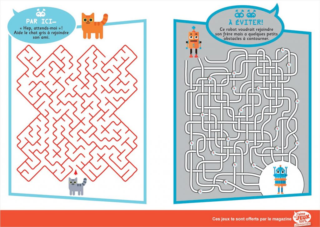Téléchargez 2 jeux extraits du magazine J'aime les jeux 100 % Labyrinthes