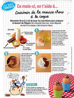 Téléchargez la recette de la mousse choco à la coque, extraite du magazine J'aime lire max d'avril 2017.
