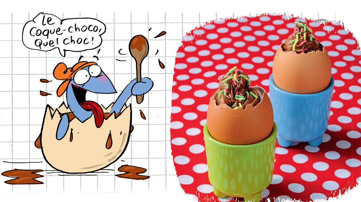 Recette de la mousse au chocolat à la coque. Illustration : Frédéric Benaglia
