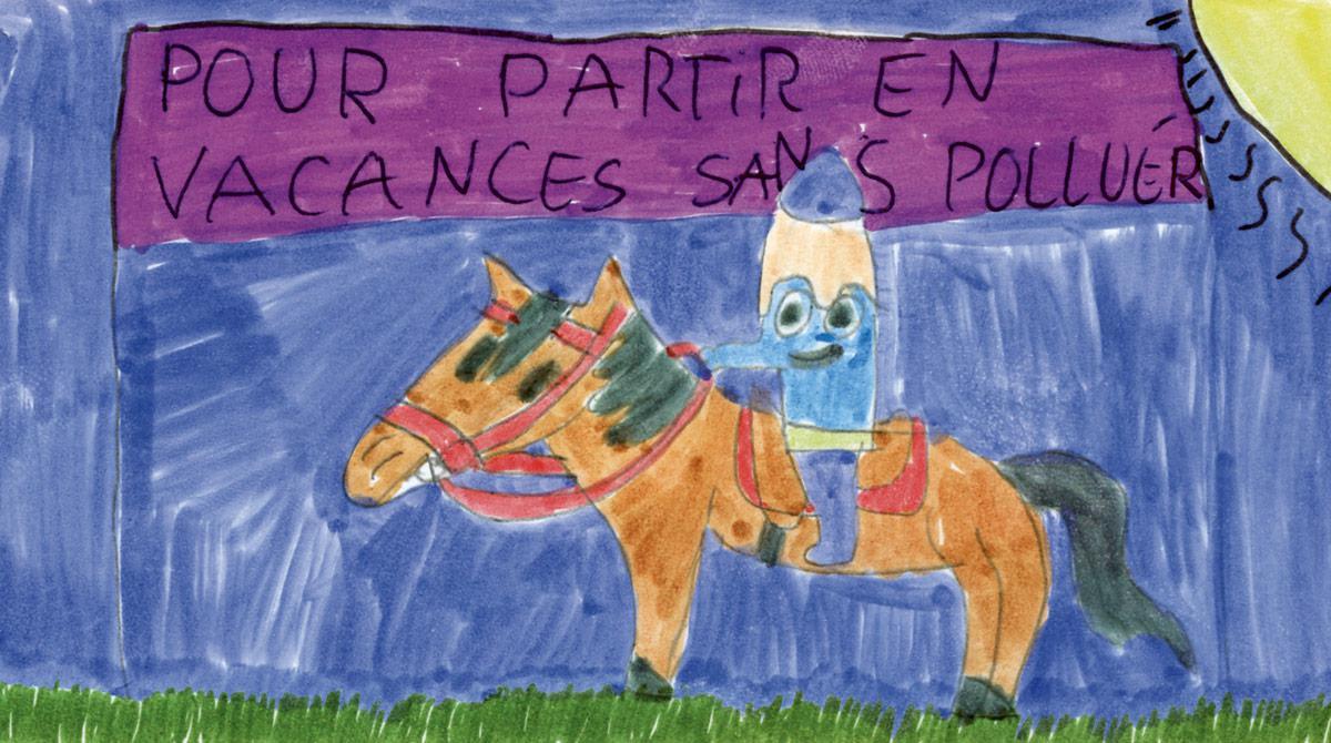 """Résultats du concours d'été J'aime lire/Goliath - """"Hippiquemine"""", dessin de Estelle B., 11 ans, Créteil (94)."""