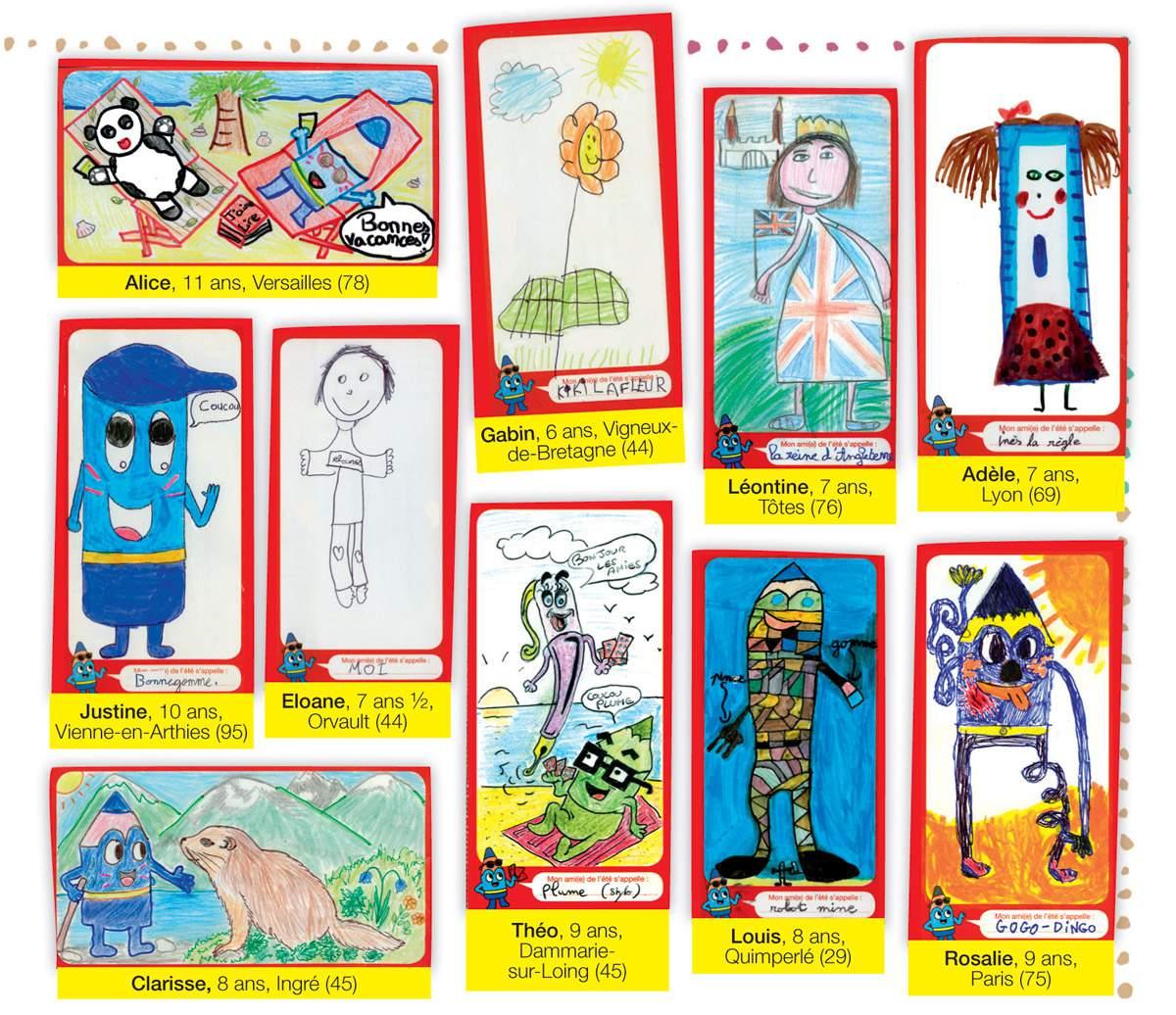 Les dessins des gagnants du concours d'été J'aime lire (1er au 19e prix), publiés dans le numéro d'octobre de J'aime lire.