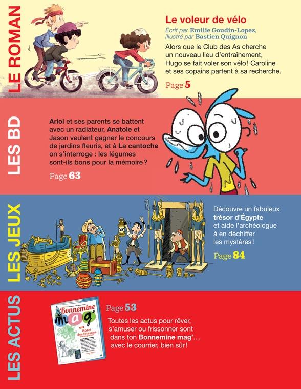 Au sommaire du magazine du magazine J'aime lire, n° 506, mars 2019 - Le club des as - Le voleur de vélo