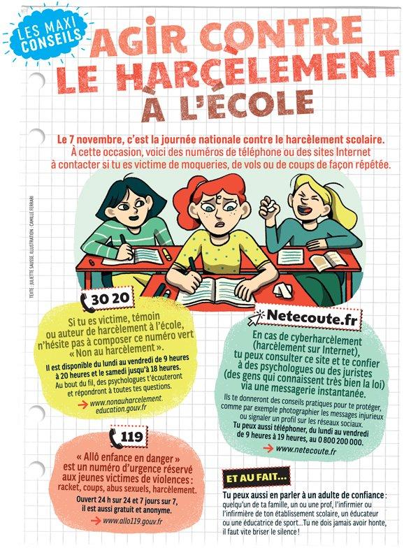 """""""Agir contre le harcèlement à l'école"""", J'aime lire Max n°252, novembre 2019. Texte : Juliette Sausse. illustration : Camille Ferrari"""