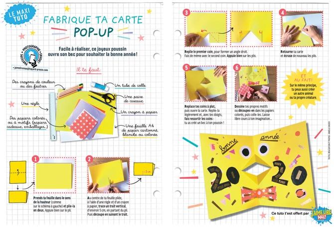 """""""Fabrique ta propre carte pop-up"""", J'aime lire Max n°253, janvier 2020. Texte, réalisationet photos: Anaëlle Daussy."""
