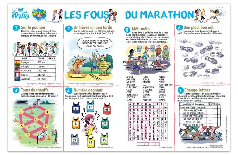 """""""Les fous du marathon"""", J'aime lire Max n°232. Conception : Anna Mars. Illustrations : Nikol."""