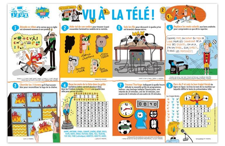"""""""Vu à la télé !"""", J'aime lire Max n°237. Conception : Anna Mars. Illustrations : Estocafich."""