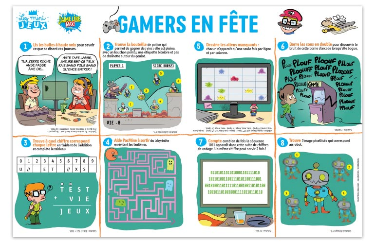 """Gamers en fête"", J'aime lire Max n°239. Conception : Anna Mars. Illustrations : Thomas Priou."