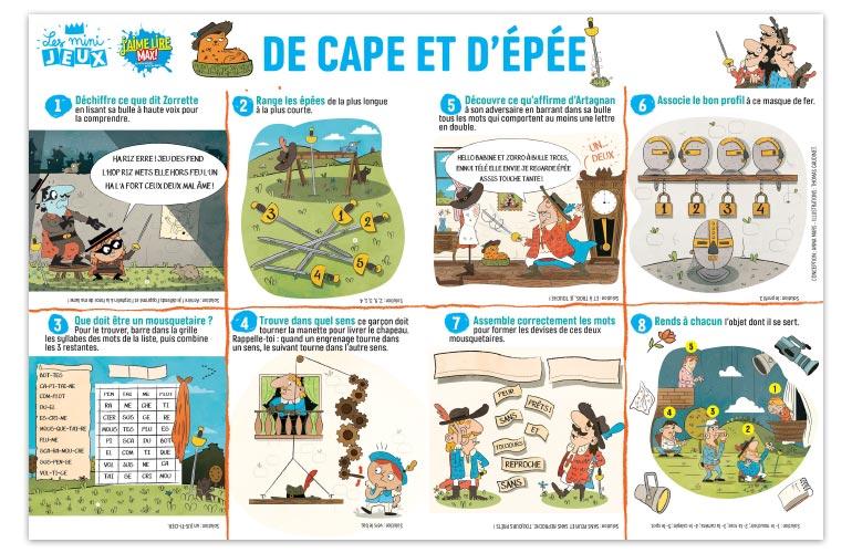 """""""De cape et d'épée"""", J'aime lire Max n°241. Conception : Anna Mars. Illustrations : Thomas Gaudiet."""