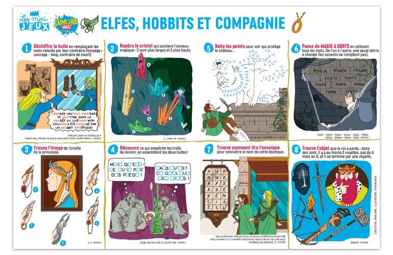 """""""Elfes, hobbits et compagnie"""", J'aime lire Max n°249. Conception : Anna Mars. Illustrations : Arthur Junier."""