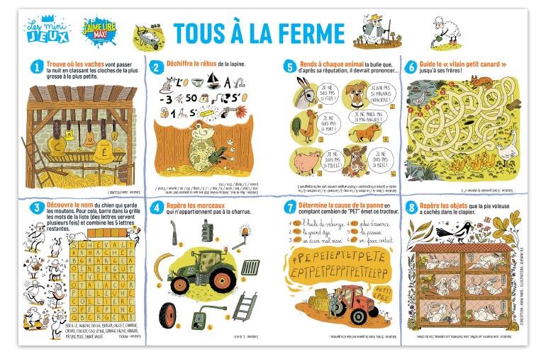 """""""Tous à la ferme"""", J'aime lire Max n°250. Conception : Anna Mars. Illustrations : Auriane Bui."""