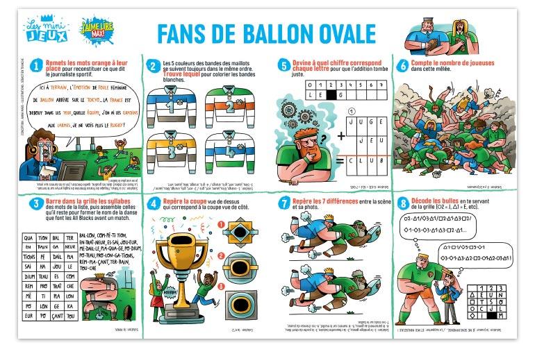 """""""Fans de ballon ovale"""", J'aime lire Max n°251. Conception : Anna Mars. Illustrations : Sébastien Touache."""