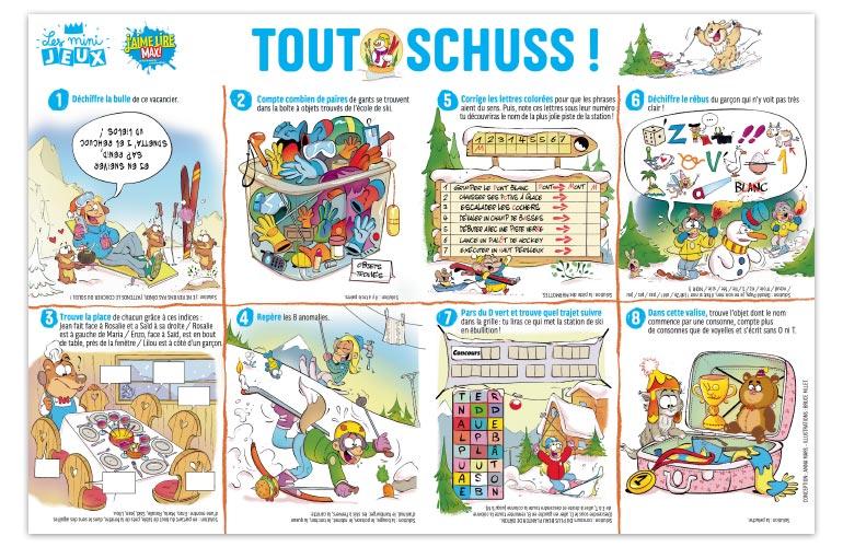 """Tout schuss !"", J'aime lire Max n°254. Conception : Anna Mars. Illustrations : Bruce Millet."