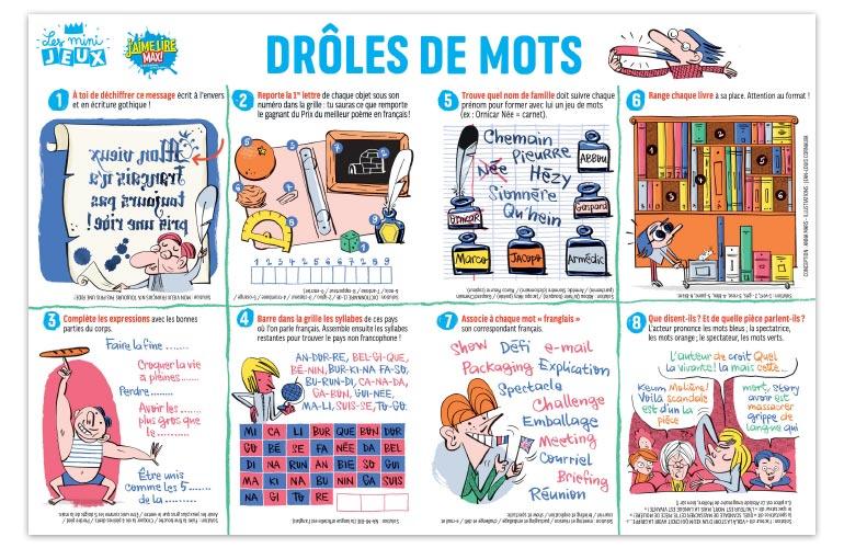 """""""Drôles de mots"""", J'aime lire Max n°255. Conception : Anna Mars. Illustrations : Jean-Louis Cornalba."""