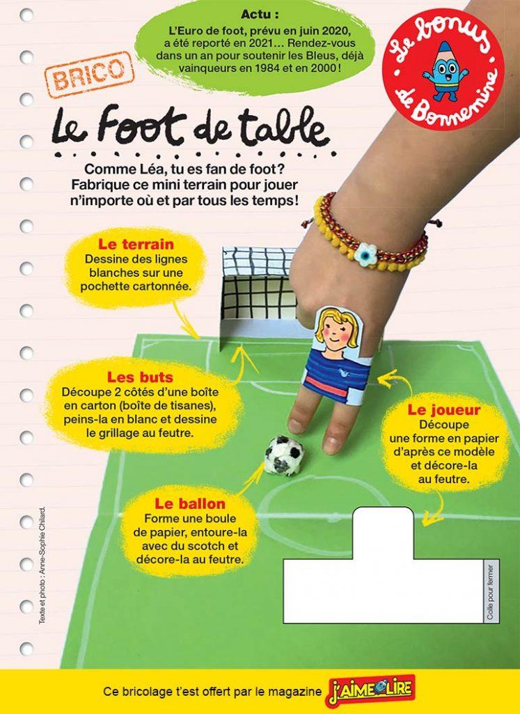 """""""Le foot de table"""", J'aime lire n°521, juin 2020. texte et photo : Anne-Sophie Chilard."""