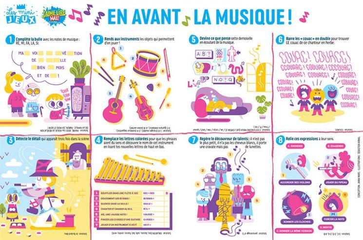 """""""En avant la musique !"""", J'aime lire Max n°258, juin 2020. Conception : Anna Mars. Illustrations : Sébastien Arnal."""