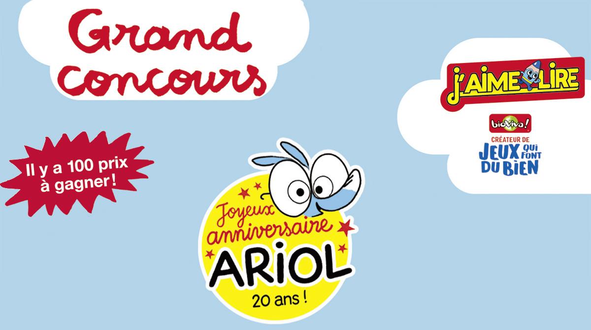 Téléchargez le règlement du concours de dessin J'aime lire / Bioviva pour les 20 ans d'Ariol