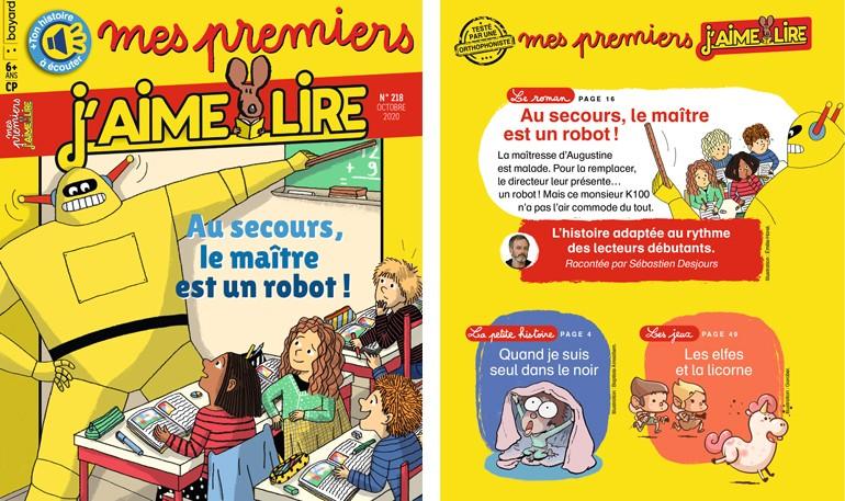 """Au sommaire du magazine """"Mes premiers J'aime lire"""", n°218, octobre 2020"""