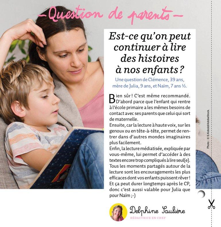 """""""Question de parents : Est-ce qu'on peut continuer à lire des histoires à nos enfants ?"""", Mes premiers J'aime lire, n°218, octobre 2020 © S.Kobold/AdobeStock."""