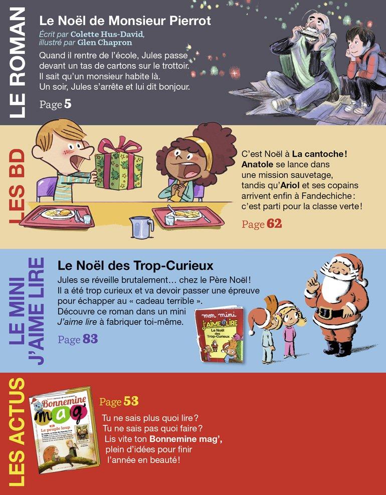 Sommaire du magazine J'aime lire, n° 527, décembre 2020 - Le Noël de Monsieur Pierrot