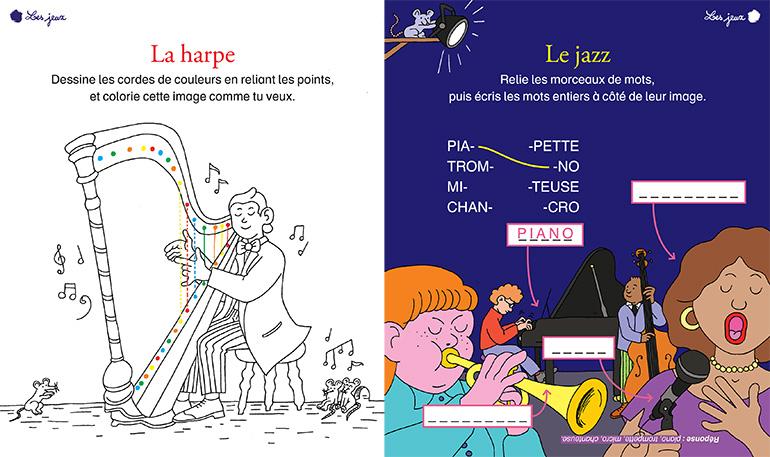 """""""En avant la musique !"""", jeux pour les 6-7 ans. Illustration : Émilie Clarke. La harpe - Le jazz"""