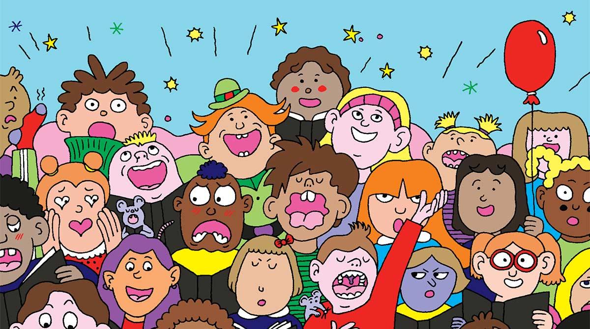 """""""En avant la musique !"""", jeux pour les 6-7 ans. Illustration : Émilie Clarke."""