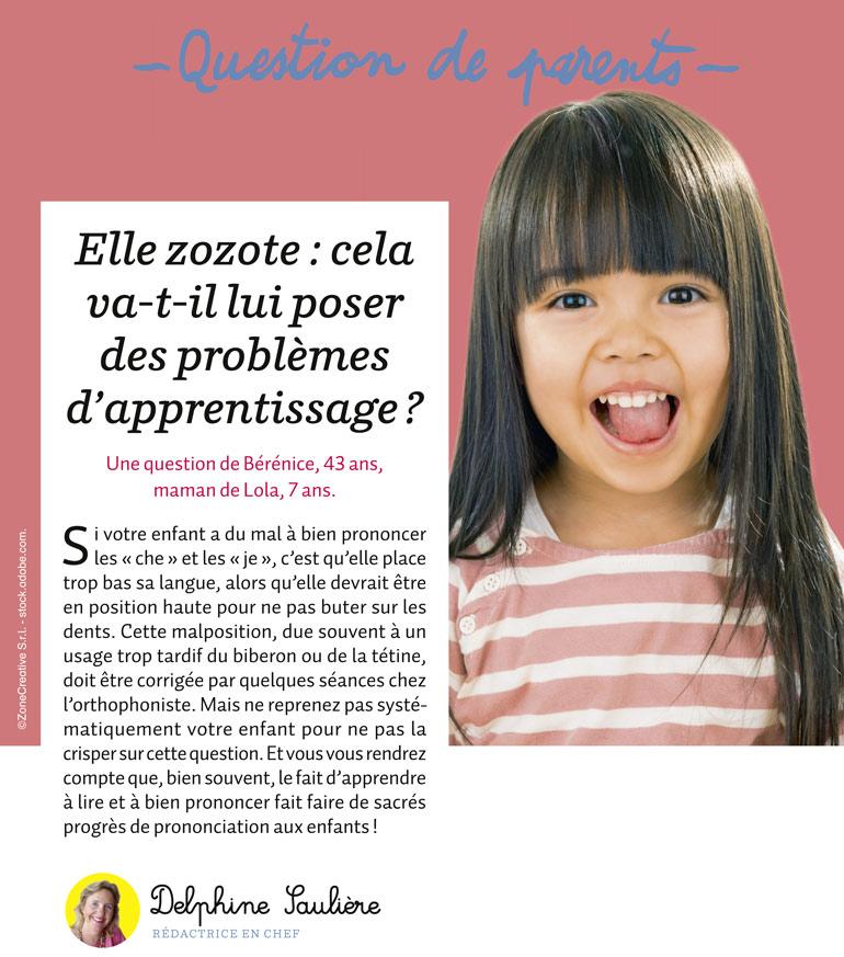 Mon enfant zozotte : cela va-t-il lui poser des problèmes d'apprentissage ?