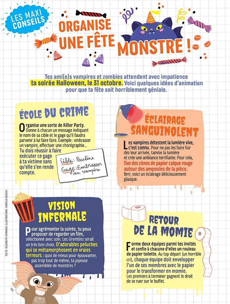 """""""Halloween : nos conseils pour organiser une fête monstre !"""", J'aime lire Max n°275, novembre 2021. Illustrations Anaëlle Daussy."""