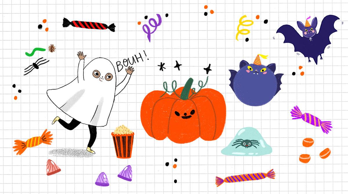"""Illustrations Anaëlle Daussy. """"Halloween : nos conseils pour organiser une fête monstre !"""", J'aime lire Max n°275, novembre 2021."""