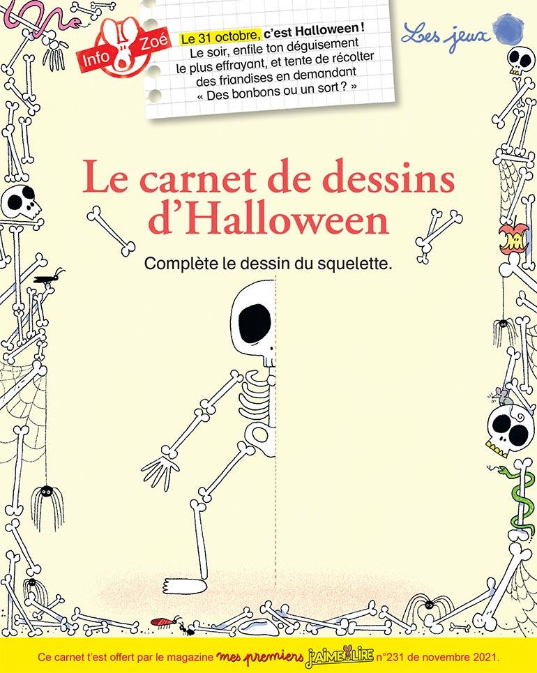 """Illustration : Héloïse Solt. """"Le carnet de dessins d'Halloween"""", Mes premiers J'aime lire, n°231, novembre 2021."""